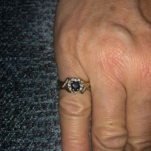 Jewelry - 14k gold ring with sapphire and diamonds
